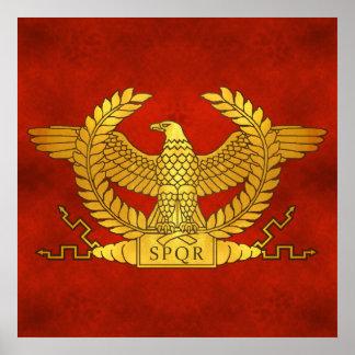 Poster Eagle d'or romain sur le rouge antique