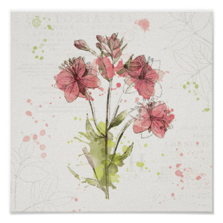 Poster Éclaboussure rose foncée florale