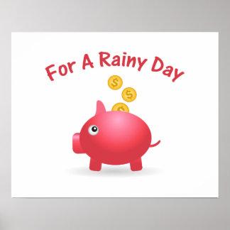 Poster Économiser porcin pendant un jour de pluie