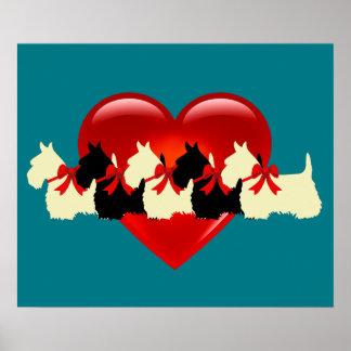 Poster Écossais coeur de Terrier arc noirs/blancs de