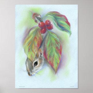 Poster Écureuil dans le feuille de cornouiller d'automne