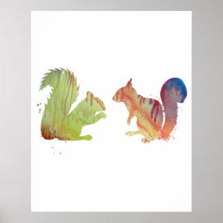 Poster Écureuils