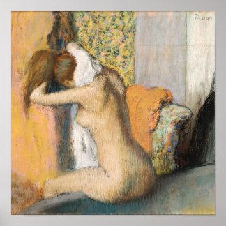 Poster Edgar Degas | après Bath, cou de séchage de femme