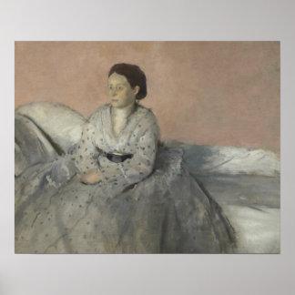 Poster Edgar Degas - portrait de Madame Rene de Gas