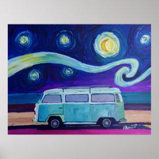 Poster Édition de nuit étoilée d'autobus de surf