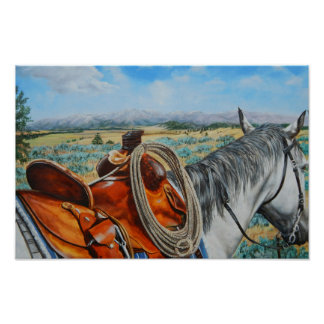 Poster Effrayez le cheval, selle, cowboy, paysage de