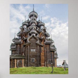 Poster Église en bois fleurie, Russie