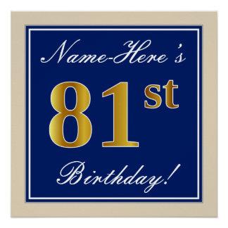 Poster Élégant, bleu, anniversaire d'or de Faux