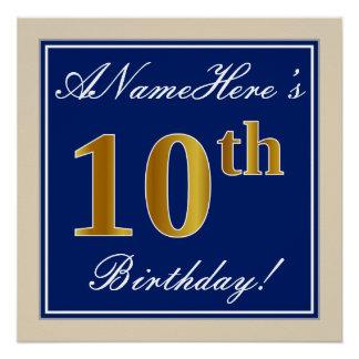 Poster Élégant, bleu, anniversaire d'or de Faux 10ème +
