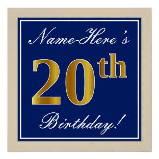 Poster Élégant, bleu, anniversaire d'or de Faux 20ème +