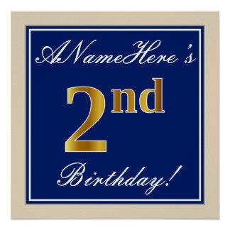 Poster Élégant, bleu, anniversaire d'or de Faux 2ème ;