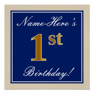Poster Élégant, bleu, anniversaire d'or de Faux ęr ; Nom