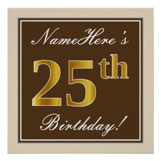 Poster Élégant, Brown, anniversaire d'or de Faux 25ème +