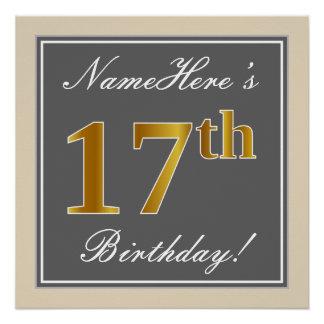 Poster Élégant, gris, anniversaire d'or de Faux 17ème +