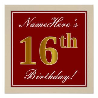 Poster Élégant, rouge, anniversaire d'or de Faux 16ème ;