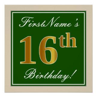 Poster Élégant, vert, anniversaire d'or de Faux 16ème +