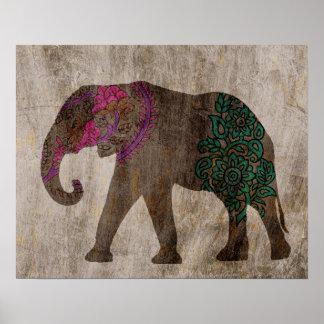 Poster Éléphant asiatique tribal de zen