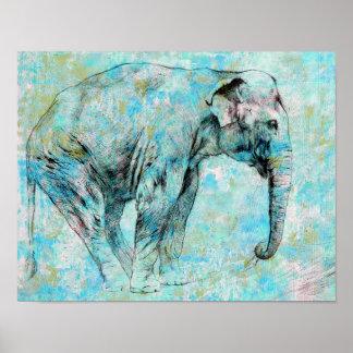 Poster Éléphant bleu