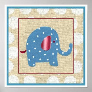 Poster Éléphant bleu avec le pois blanc