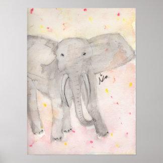 Poster Éléphant d'aquarelle