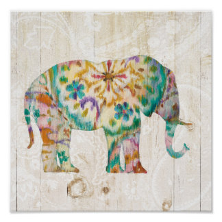 Poster Éléphant de Boho Paisley I