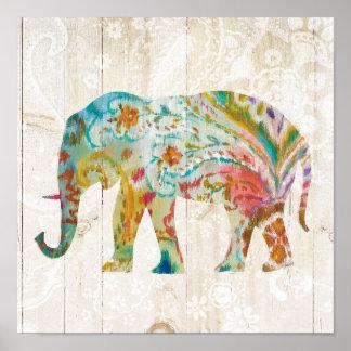 Poster Éléphant de Boho Paisley II