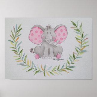 Poster Éléphant de point de polka