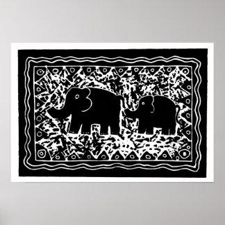 Poster Éléphant et veau