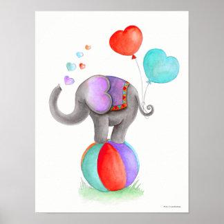 Poster Éléphant gris de cirque fantaisie sur une crèche