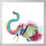 Poster Éléphant vibrant coloré à la mode impressionnant