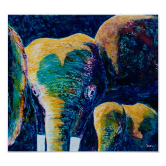 Poster Éléphants de mère et d'enfant