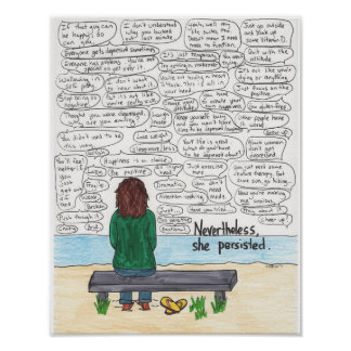 Poster Elle a persisté (dépression et inquiétude) 11x14