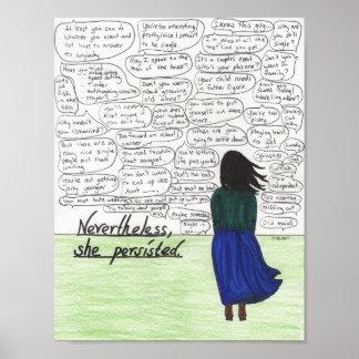 Poster Elle a persisté (les femmes célibataires)