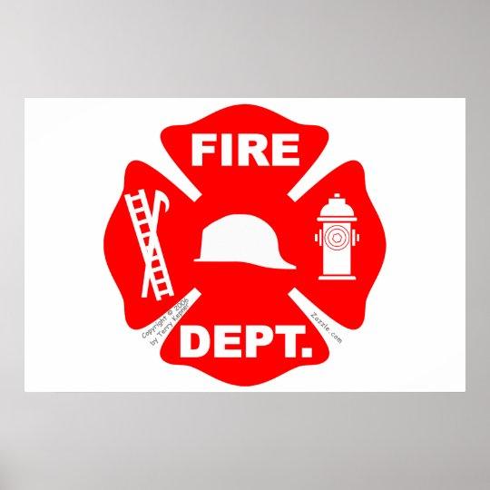 Poster Emblème de corps de sapeurs-pompiers - affiche