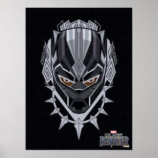Poster Emblème de tête de panthère noire de la panthère