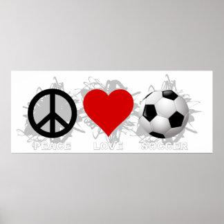 Poster Emblème du football d'amour de paix