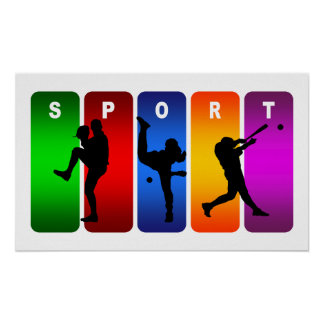 Poster Emblème multicolore de base-ball