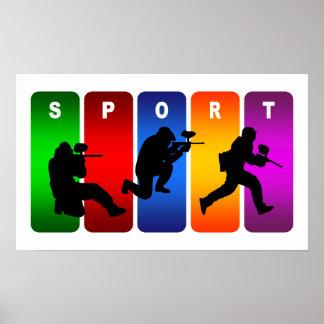Poster Emblème multicolore de Paintball