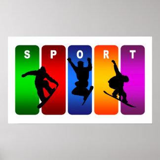 Poster Emblème multicolore de snowboarding