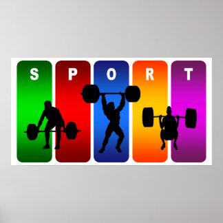 Poster Emblème multicolore d'haltérophilie