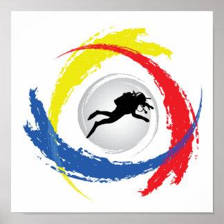 Poster Emblème tricolore de plongée à l'air