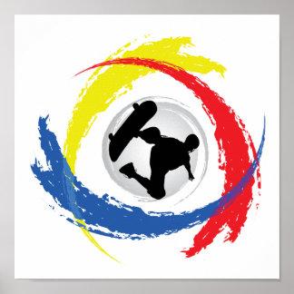 Poster Emblème tricolore faisant de la planche à