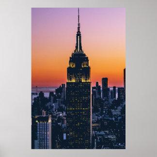 Poster Empire State Building au coucher du soleil New