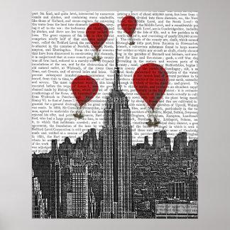 Poster Empire State Building et ballons à air d'un rouge