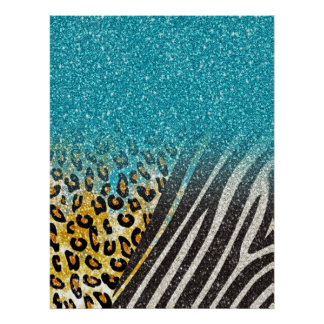 Poster Empreinte de léopard à la mode girly impressionnan