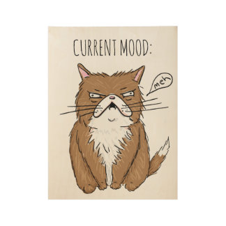 Poster En Bois Affiche grincheuse drôle de dessin de chat de Meh