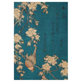 Poster En Bois Bouvreuil et cerise pleurante GalleryHD de Hokusai