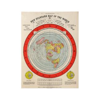 Poster En Bois Carte standard de Gleasons de la terre plate