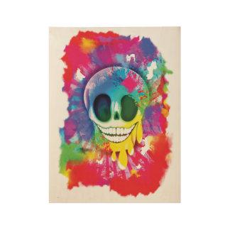 Poster En Bois Conception psychédélique de crâne
