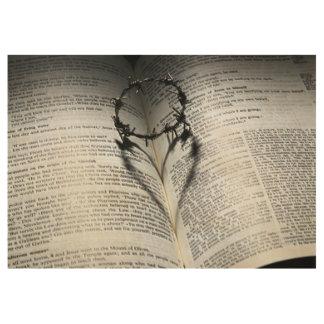 Poster En Bois Couronne des épines coeur et bible